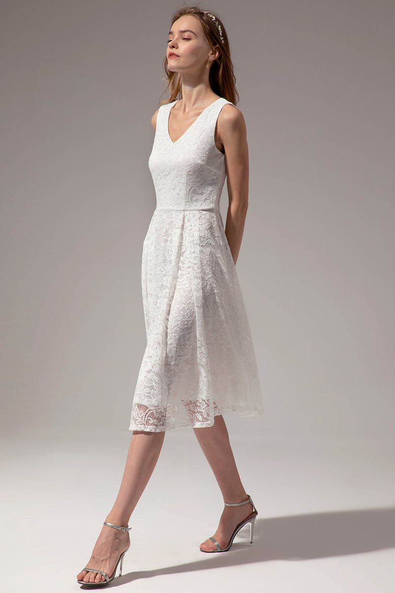 Load image into Gallery viewer, Midi V Neck Lace Dress