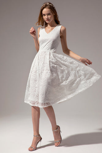 Midi V Neck Lace Dress