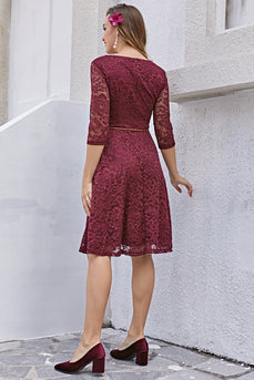 Lace Dress with 3/4 Sleeves