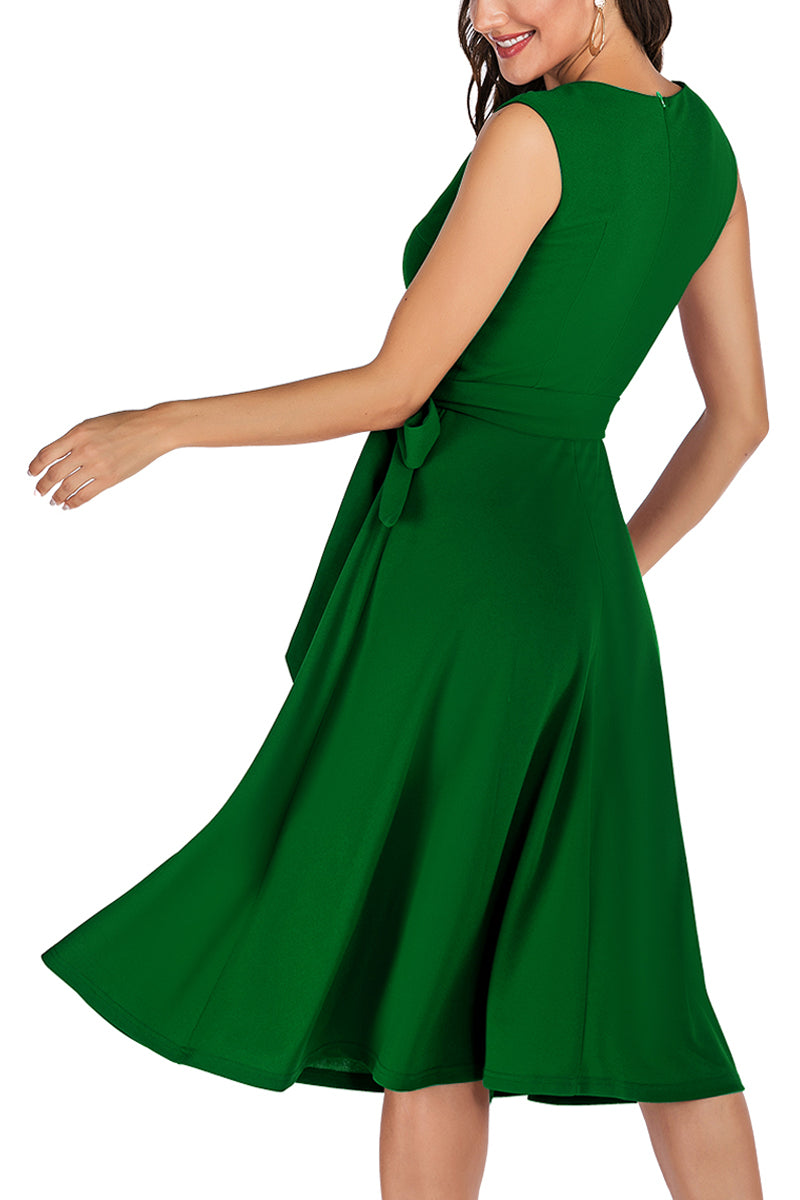 Load image into Gallery viewer, Solid Crepe Homecoming Dress with Sash