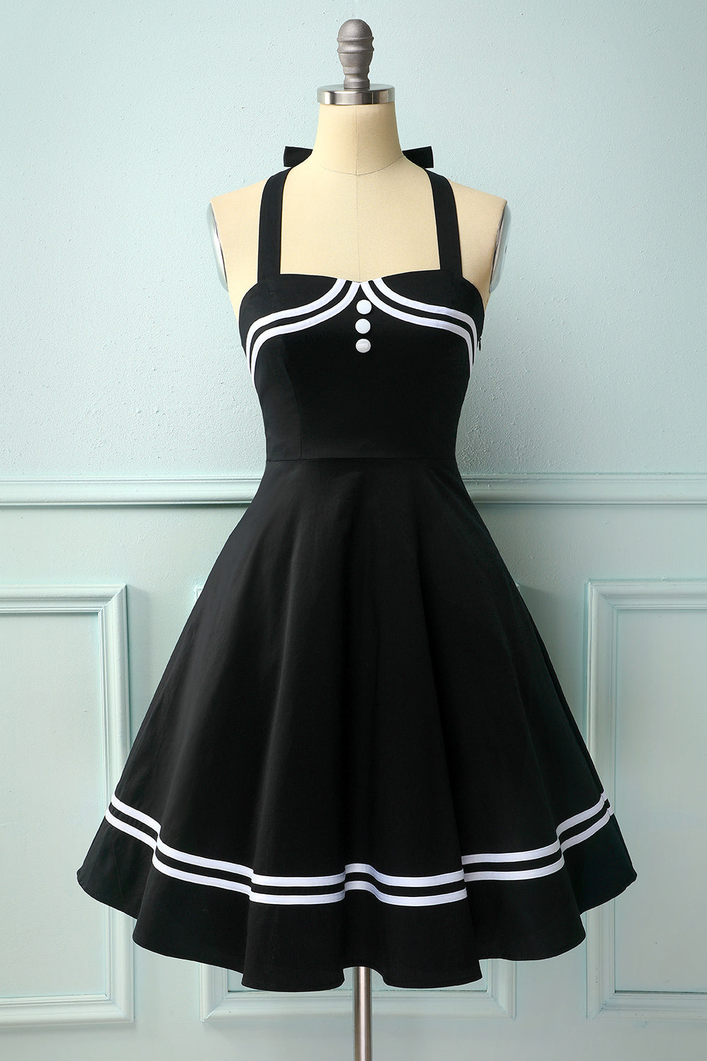 Black 50's Style Rockabilly Pin Up Dress