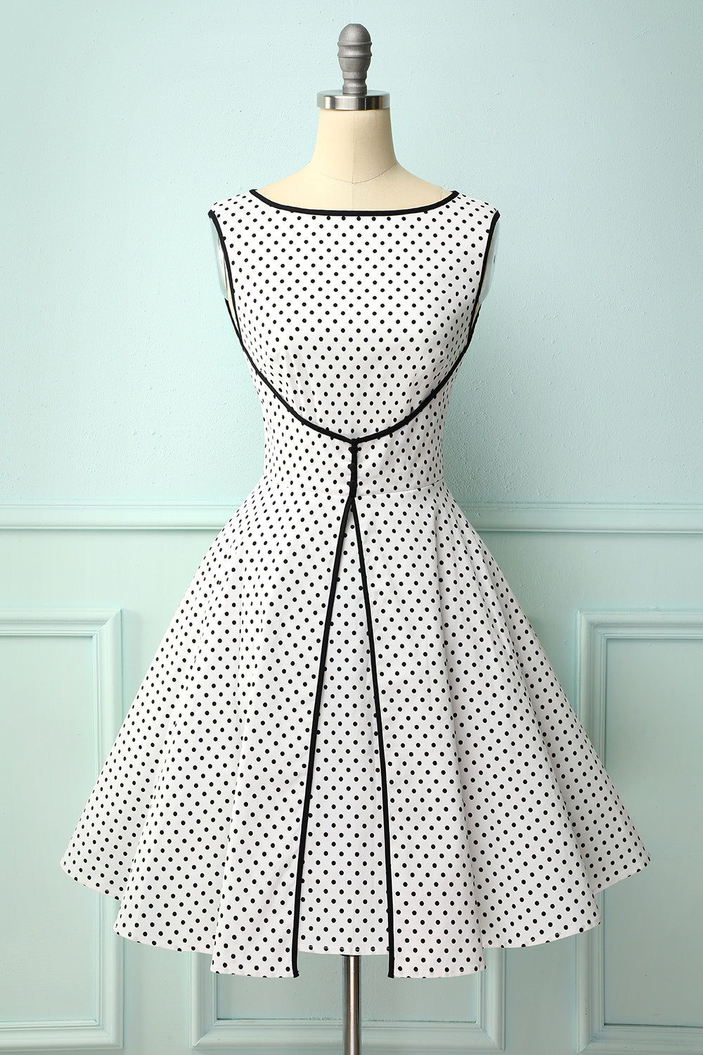 1950's Vintage Style Faked Two Piece Dots Dress
