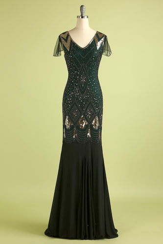 Black and Green 1920s Sequins Flapper Long Dress