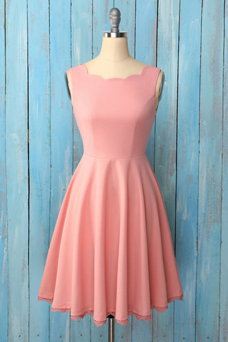 Blush Asymmetrical Neck Crepe Dress
