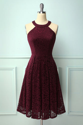 Burgundy Round Neck Lace Midi