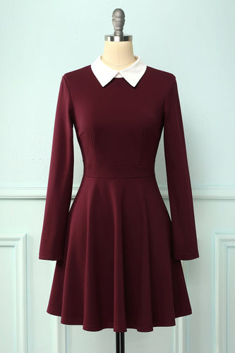 Burgundy Cotton Casual Dress