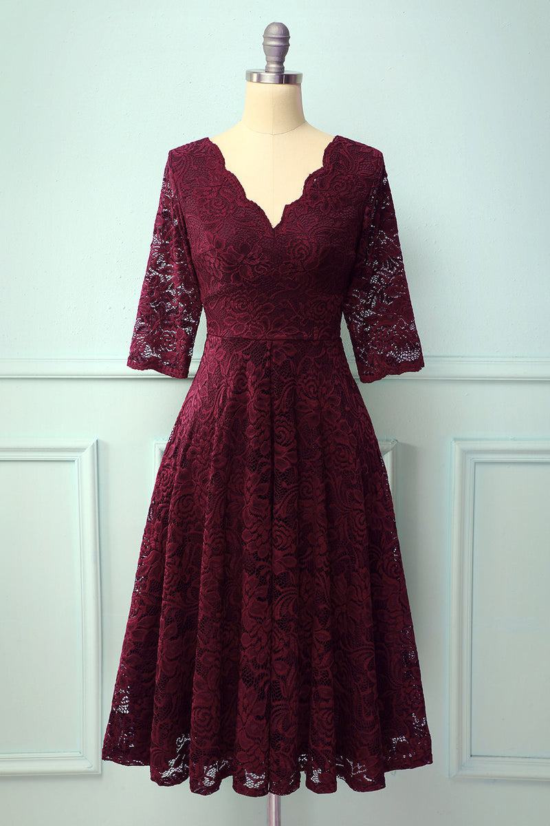 Load image into Gallery viewer, Burgundy 3/4 Sleeves Formal Dress