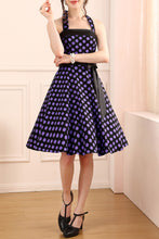 Load image into Gallery viewer, Halter Purple Dots Dress