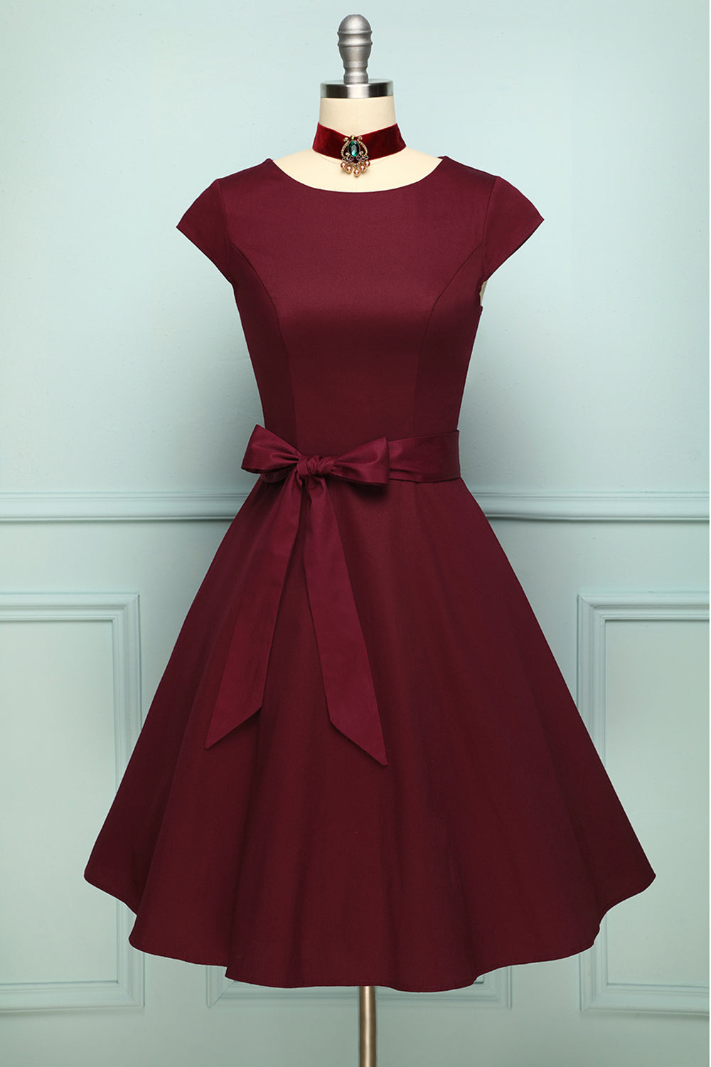 Burgundy A Line Vintage Boat Neck Swing Pinup Formal Party Dress with Sleeves