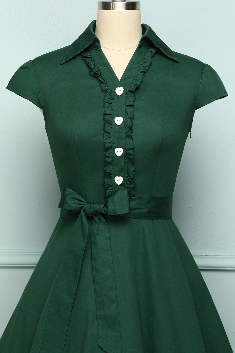 Load image into Gallery viewer, Dark Green Lapel Collar Swing