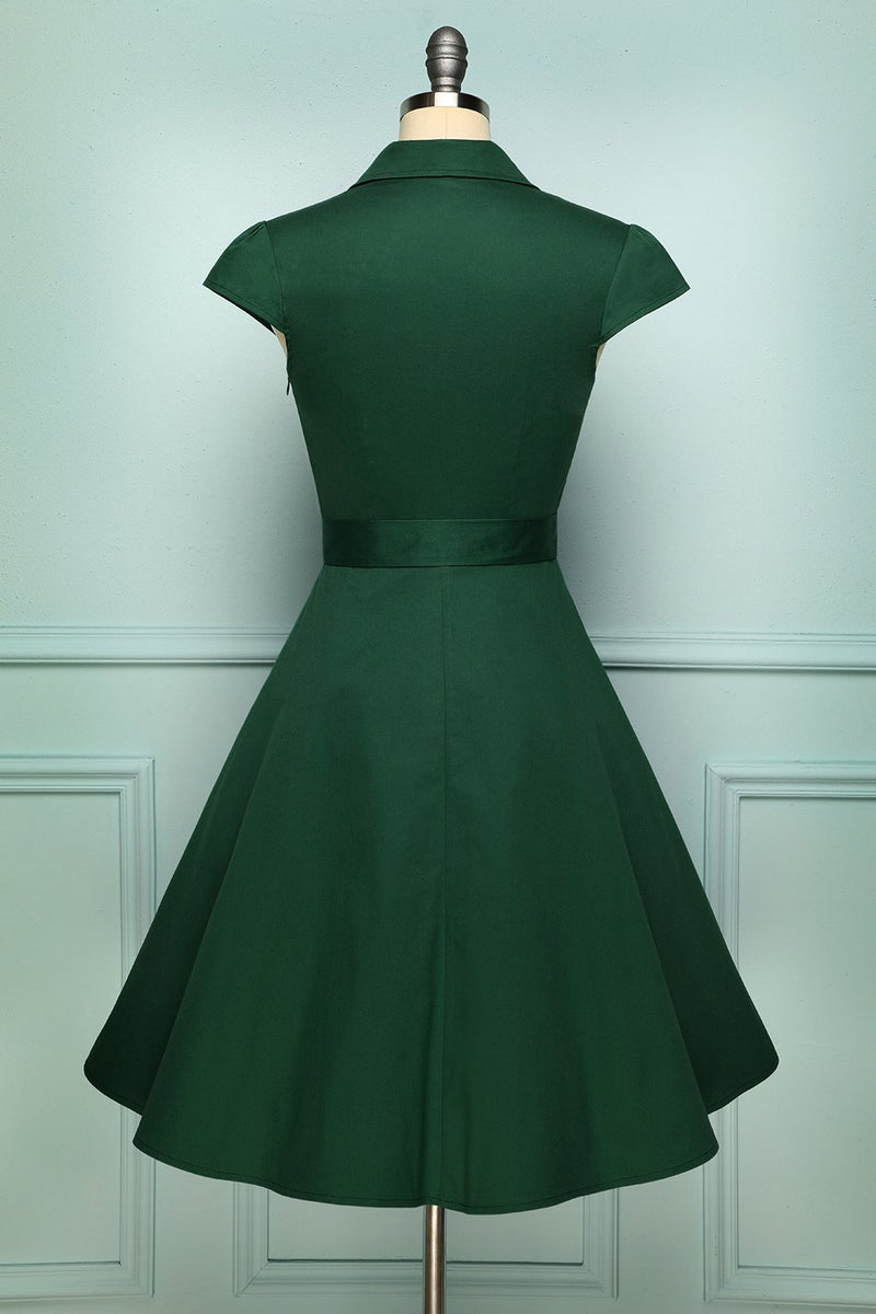 Load image into Gallery viewer, Solid Lapel 1950s Swing Dress