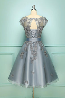 Grey Vintage Short Prom Dress