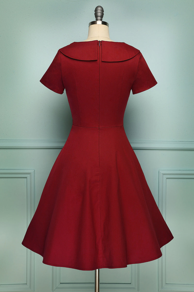 Load image into Gallery viewer, Dark Red Button Dress