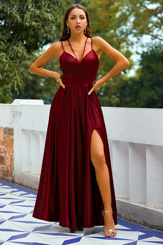 Burgundy Satin Long Prom Dress