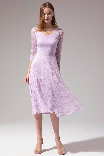 Midi Lace Dress with Long Sleeves
