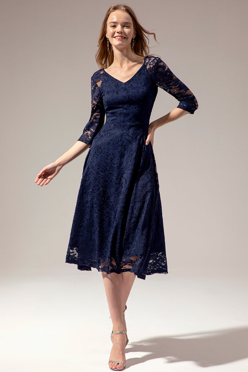 Load image into Gallery viewer, Navy Lace Midi Dress