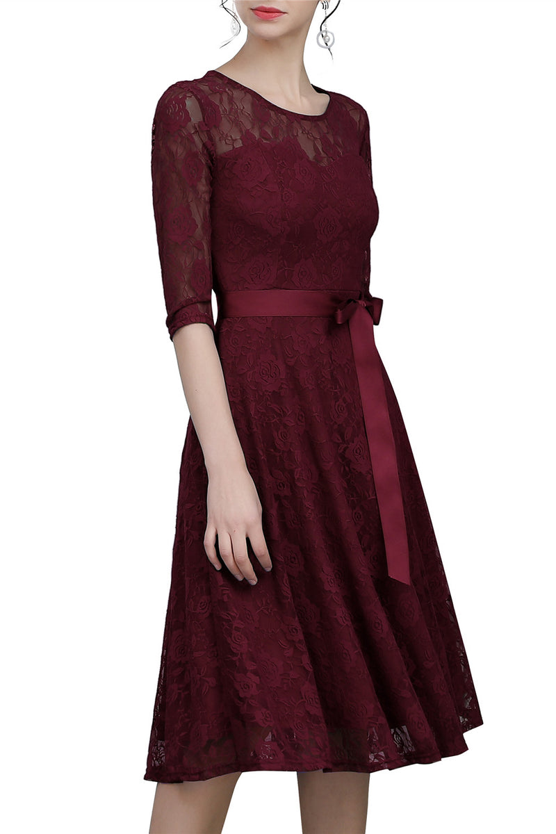 Load image into Gallery viewer, Burgundy Sash Lace Dress
