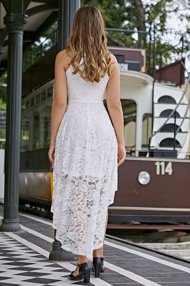 Load image into Gallery viewer, Asymmetric White Lace Dress