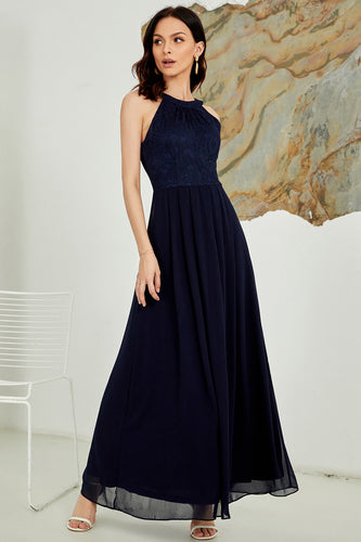 Navy Halter Long Lace Dress