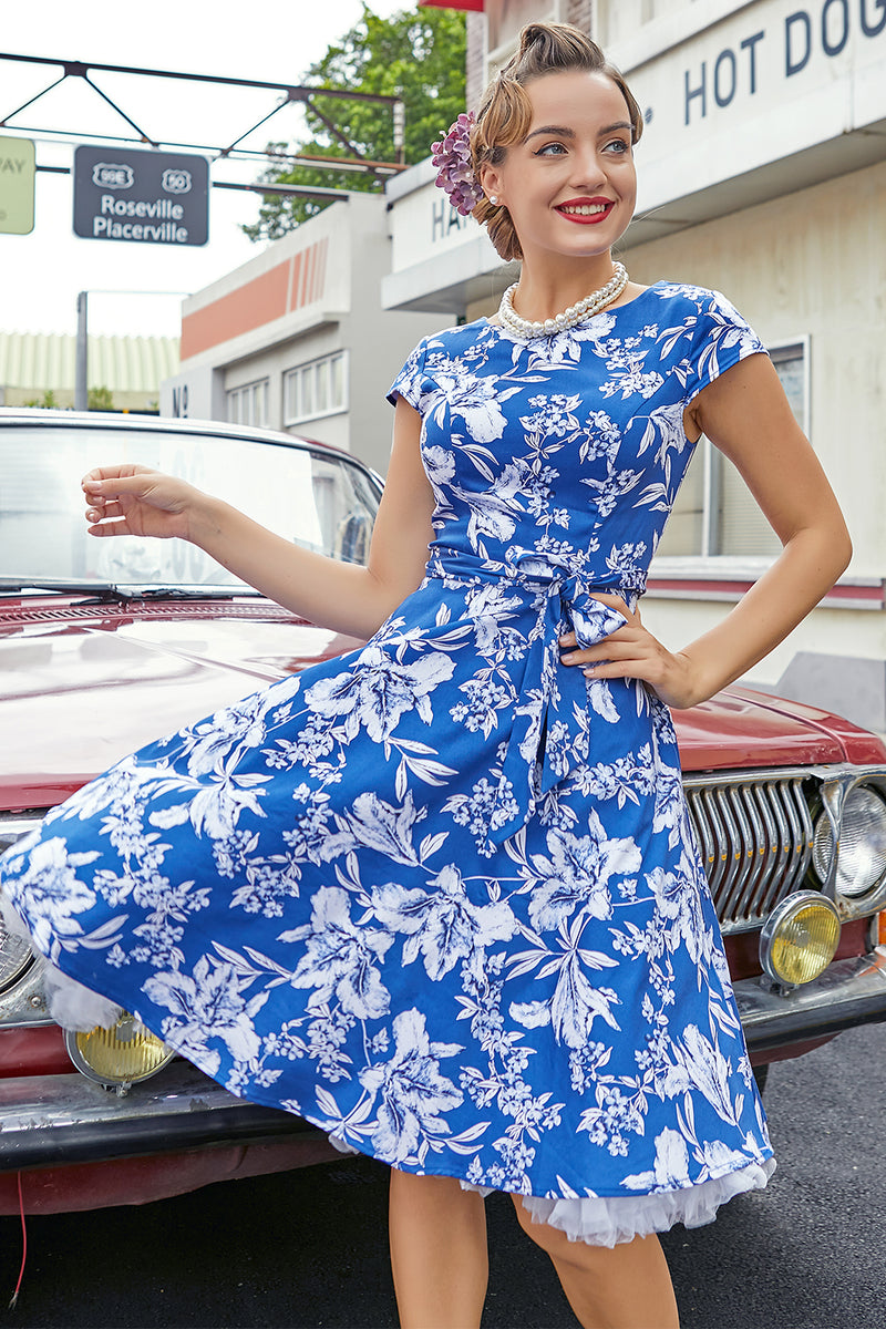 Load image into Gallery viewer, Blue Floral 1950s Swing Dress