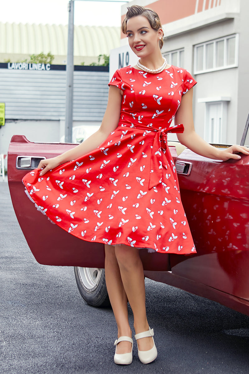 Load image into Gallery viewer, Red Cherry 1950s Swing Dress