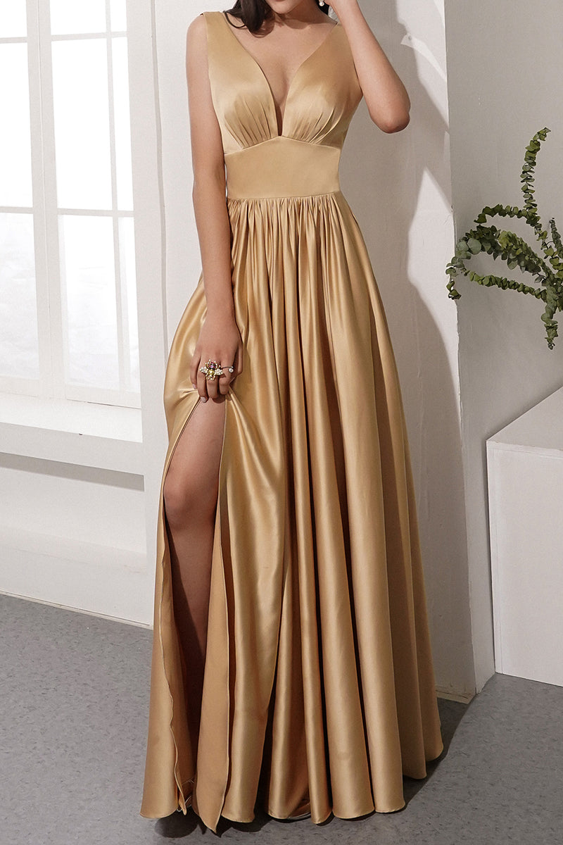 Load image into Gallery viewer, Golden Satin Long Dress
