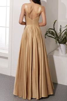 Satin Long Bridesmaid Dress With Slit