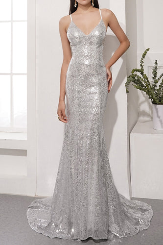 Sequins Grey Prom Party Dress
