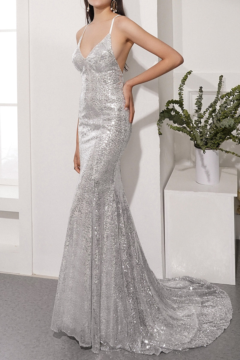 Load image into Gallery viewer, Sequins Grey Prom Party Dress