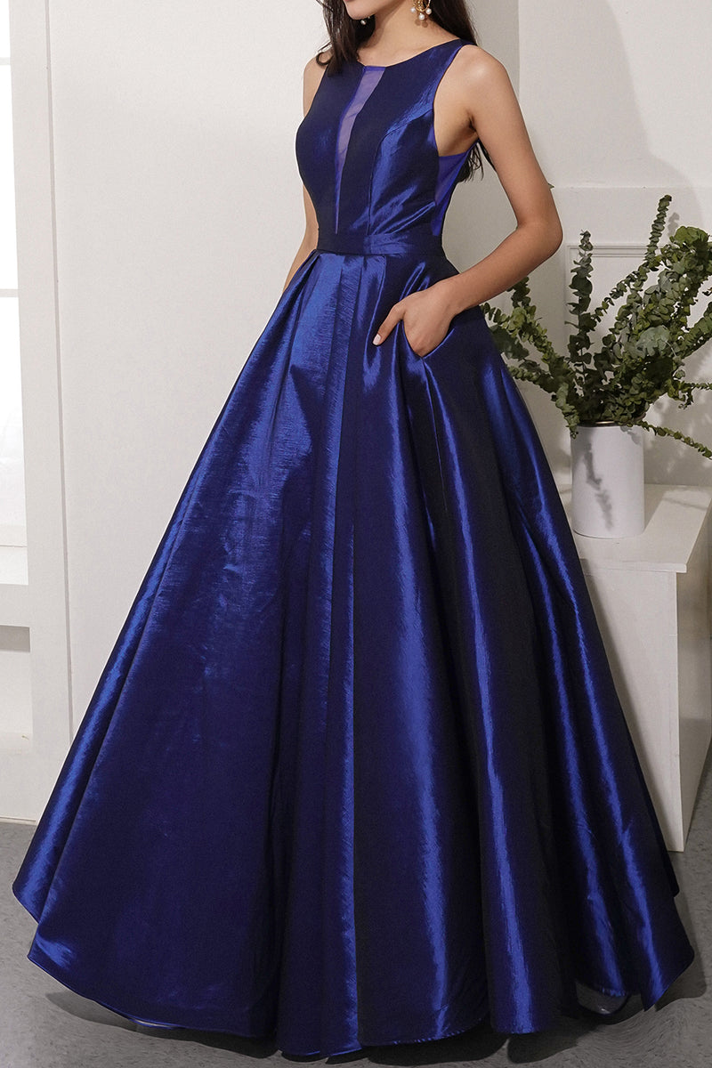 Load image into Gallery viewer, Navy Satin Prom Dress with Pockets