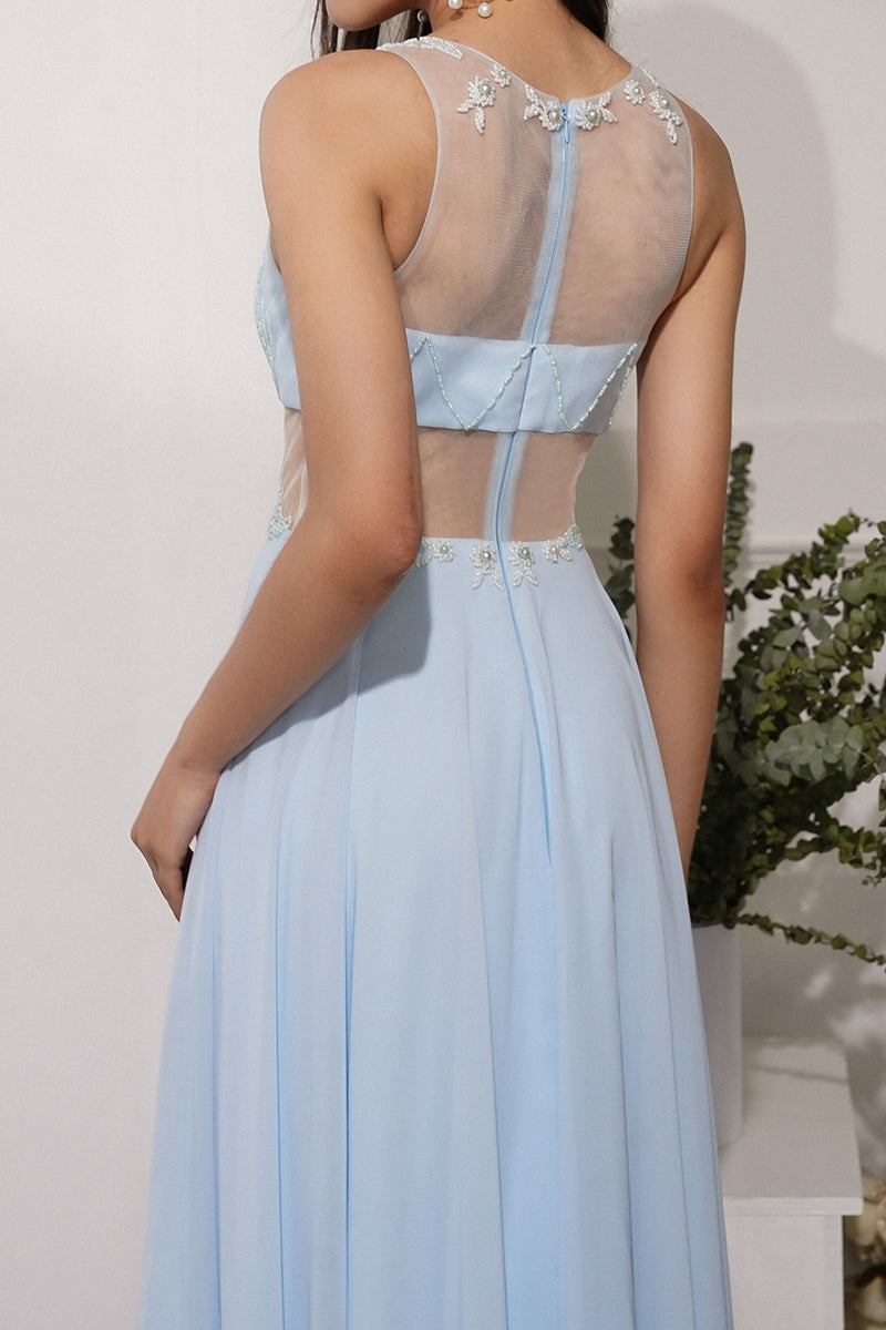 Load image into Gallery viewer, Blue A Line Chiffon Prom Dress With Appliques