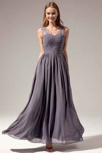 Long V-neck Bridesmaid Dress