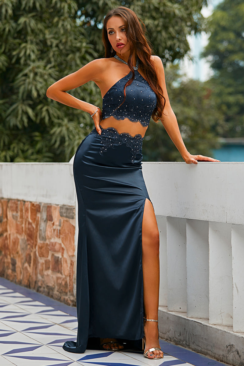 Load image into Gallery viewer, Two Piece Open Back Navy Prom Dress