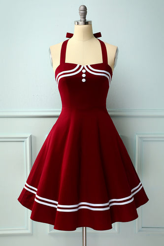 Dark Red 50s Rockabilly Pin Up Dress