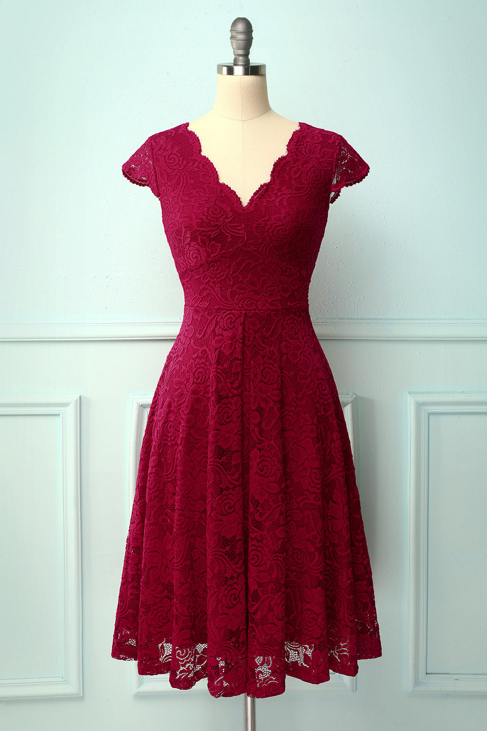 Dark Red V Neck Midi Lace