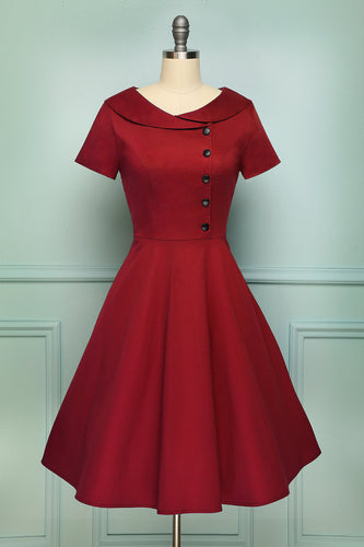 Dark Red Button Dress