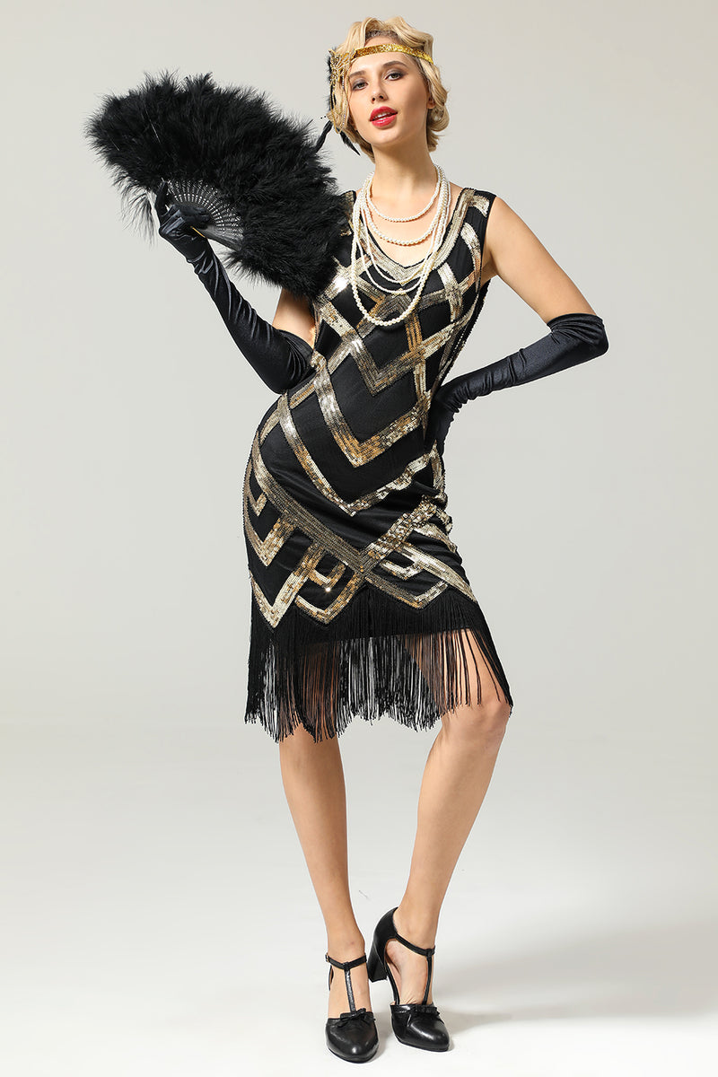 Sequins 1920s Fringe Flapper Dress with black feather fan