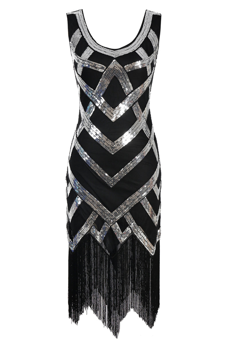 Load image into Gallery viewer, Silver Sequins 1920s Fringe Flapper Dress