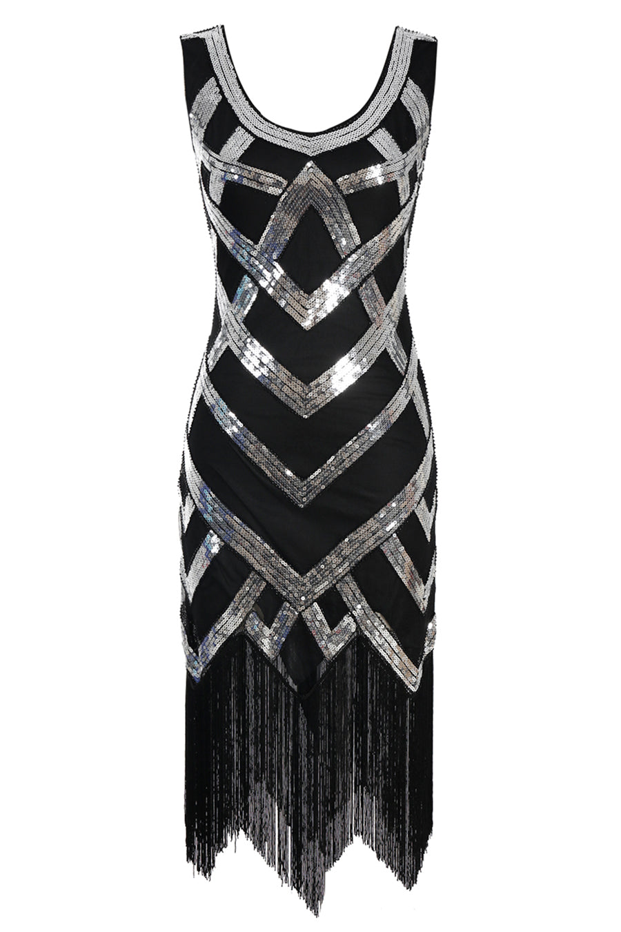 Silver Sequins 1920s Fringe Flapper Dress
