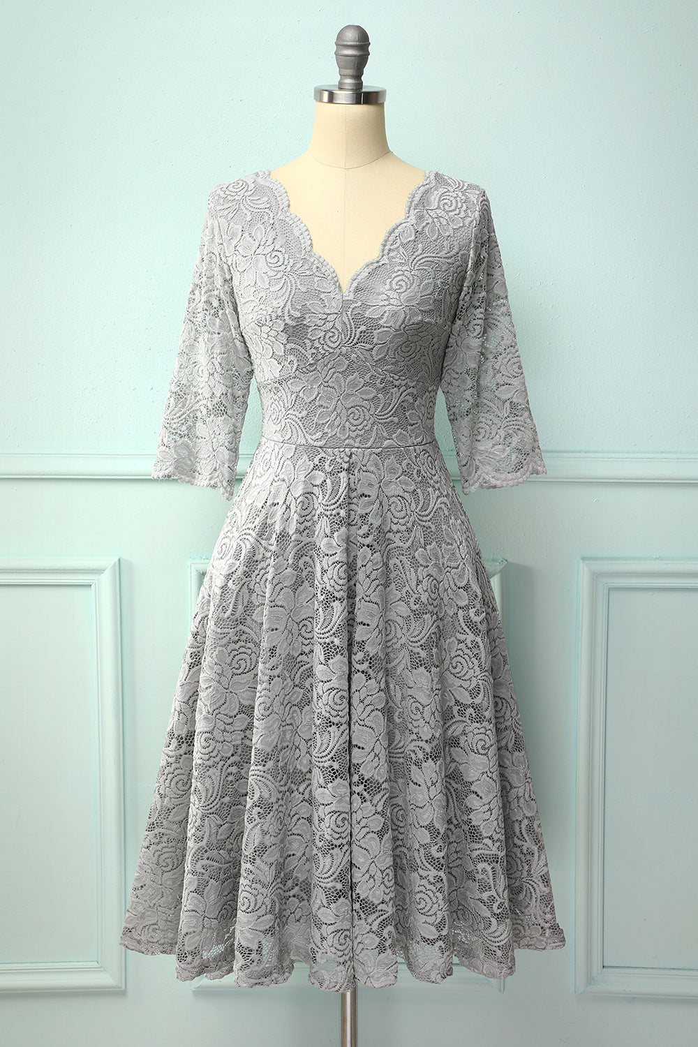 Grey 50's Style 3/4 Sleeves Formal Dress