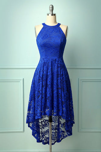 Asymmetric Royal Blue Lace