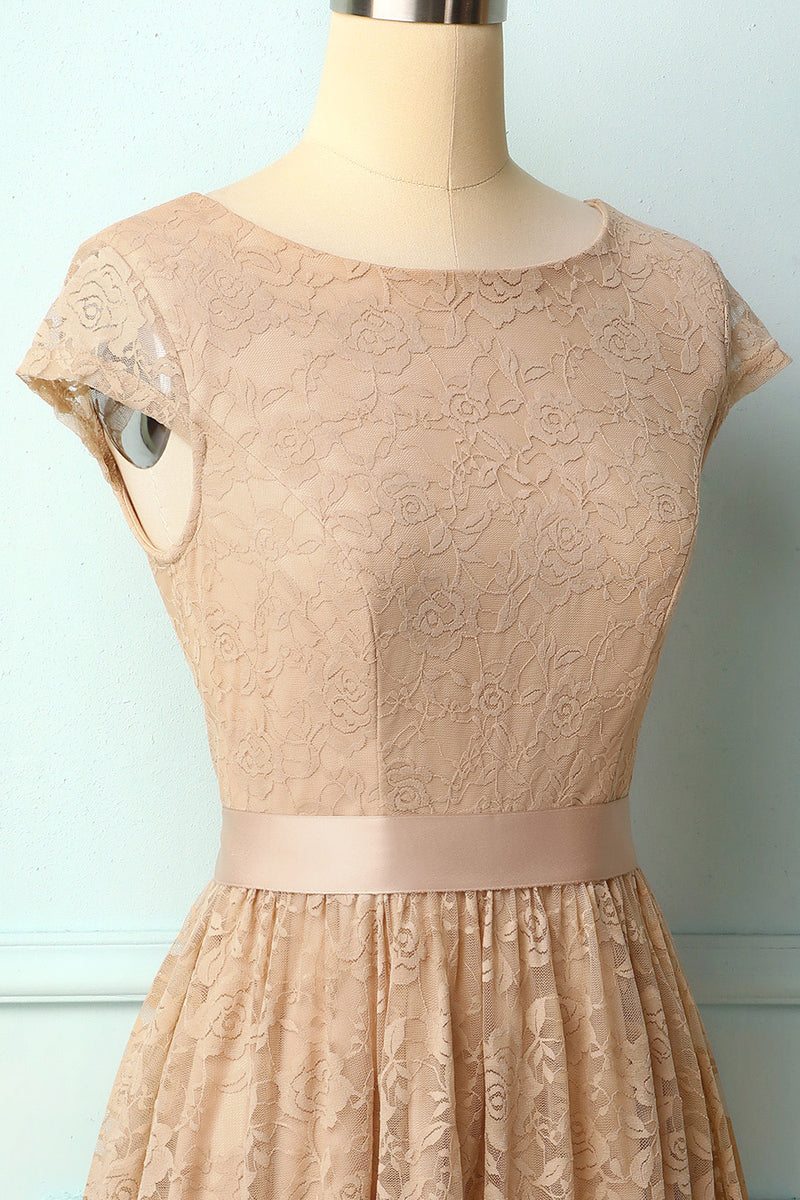 Load image into Gallery viewer, Champagne Cap Sleeves Lace