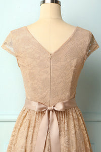 Champagne Cap Sleeves Lace