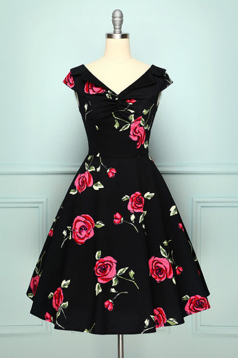 Black Rose Printed Dress
