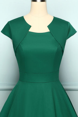Asymmetrical Neck Swing 1950s Dress