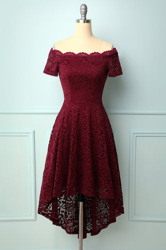 Burgundy Off the Shoulder Dress