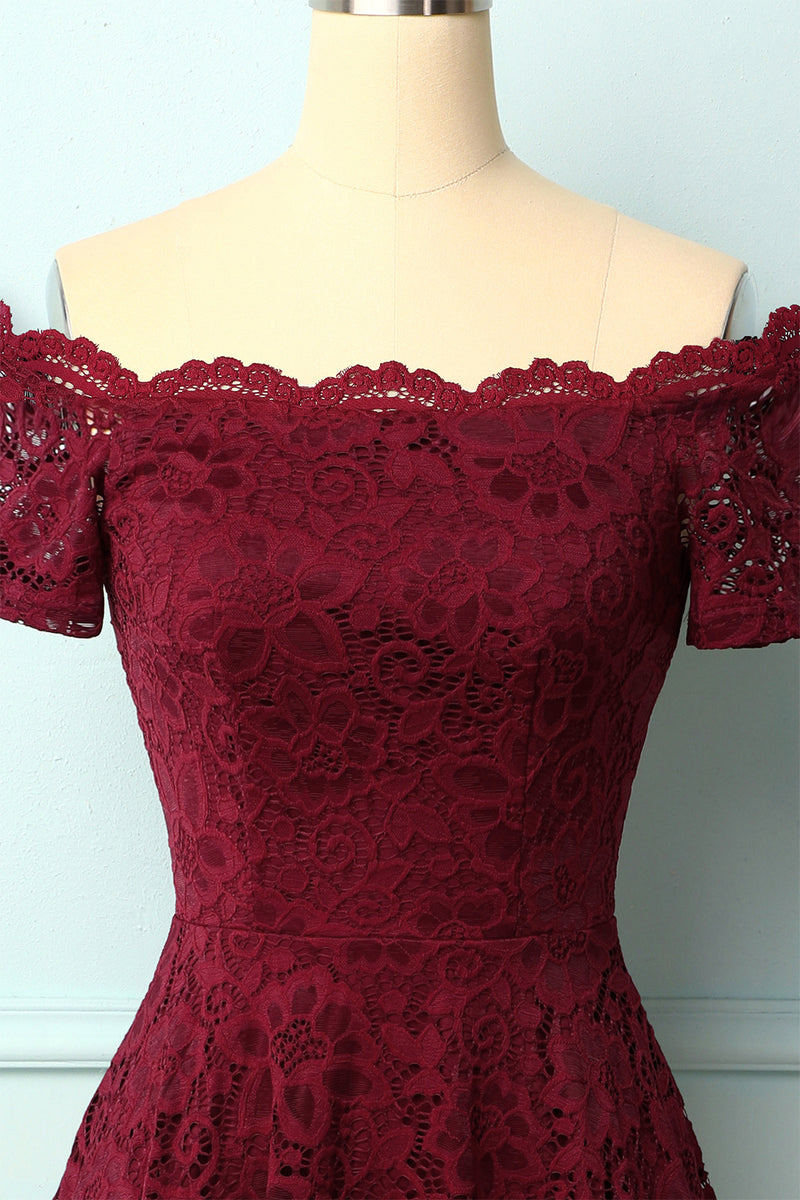 Load image into Gallery viewer, Burgundy Off the Shoulder Dress