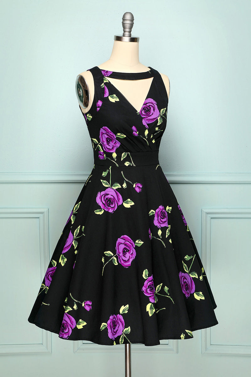 Load image into Gallery viewer, 1950s V Neck Print Dress
