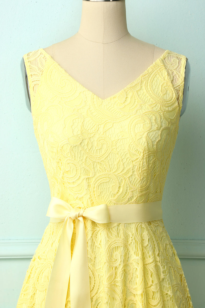 Load image into Gallery viewer, Yellow Lace V-neck Dress