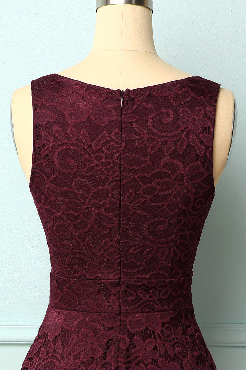 Load image into Gallery viewer, Burgundy V-Neck Lace Dress